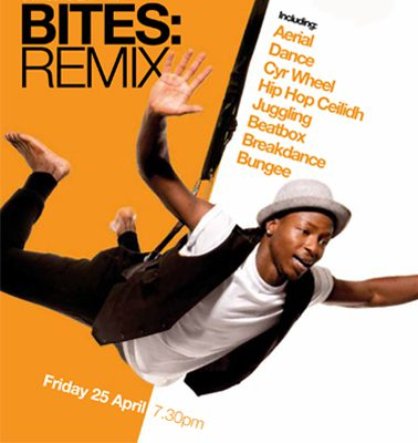 An event flyer for 'Bites Remix' with an aerialist dangling from a bungee rope.