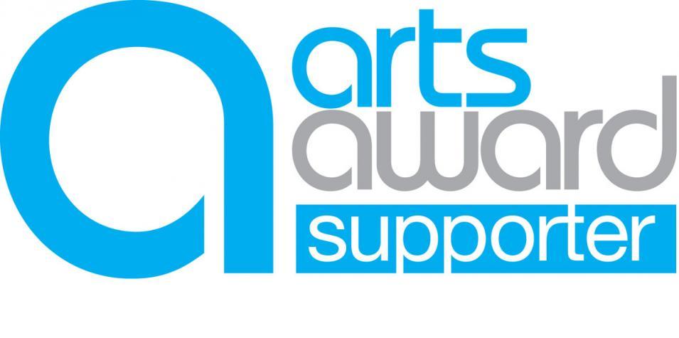 "Blue and grey arts award logo reading ""Arts Award Supporter""."