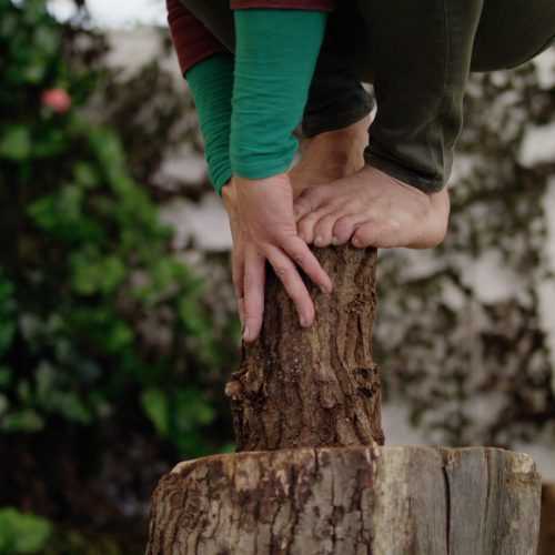 A close up of hands and feet balancing on a wooden tree stump.