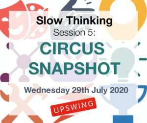 "multi-coloured corporate symbols. ""Slow Thinking session 5, Circus Snapshot, Wednesday 29th July 2020, Upswing"" is readable on top."