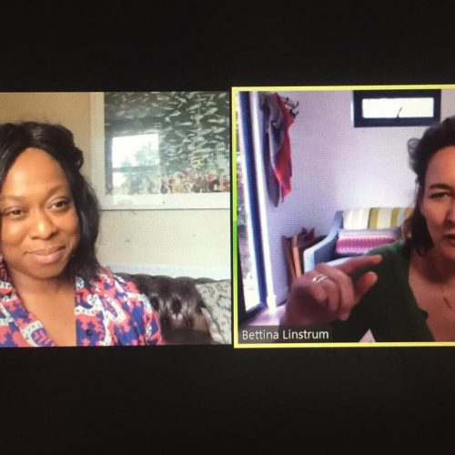 two females are on zoom together. One is a black female who is smiling. the other is a white female who is talking/gesturing.