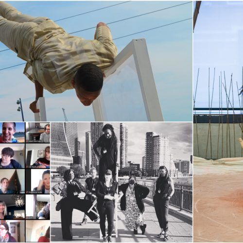 A series of images showing artists, performances, zoom meetings and the team.