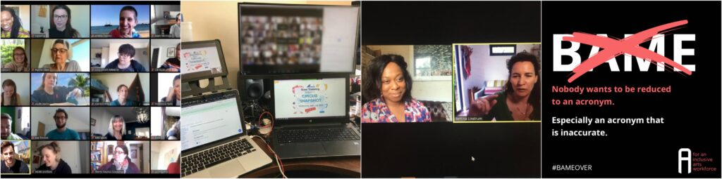A series of images showing office computers, zoom meetings and the BAMEover graphic