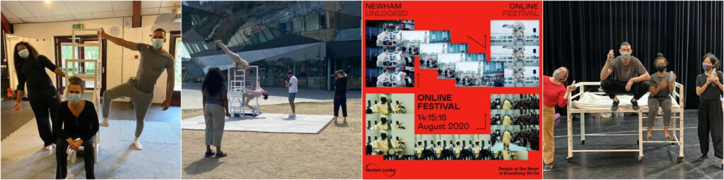 A series of images showing performances of Catch Me, Bedtime Stories rehearsals and the Newham Unlocked logo.