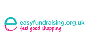 """Green and pink """"EasyFundraising.org.uk"""" logo, with the words """"Feel Good Shopping"""" underneath"""