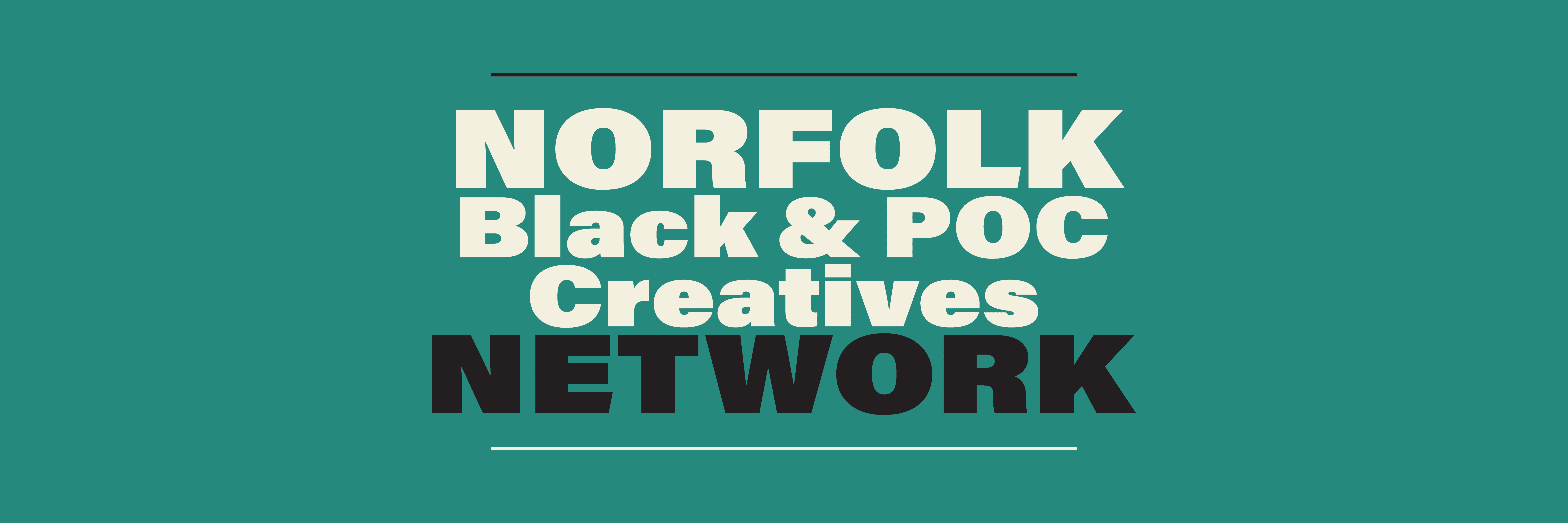 A rectangle logo with the words 'Norfolk black and POC creative network'