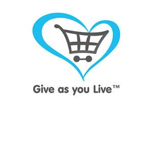 "Grey and blue ""Give As You Live"" logo"